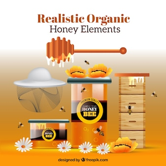 Tools for honey, realistic style