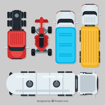 Top view car collection with trucks and open wheel car