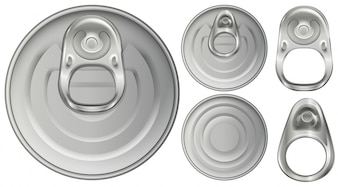 Top view of aluminum cans and openers