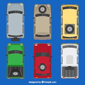 Top view of cars with spare tire