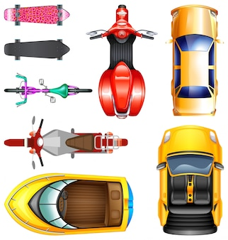 Top view of different transportation illustration