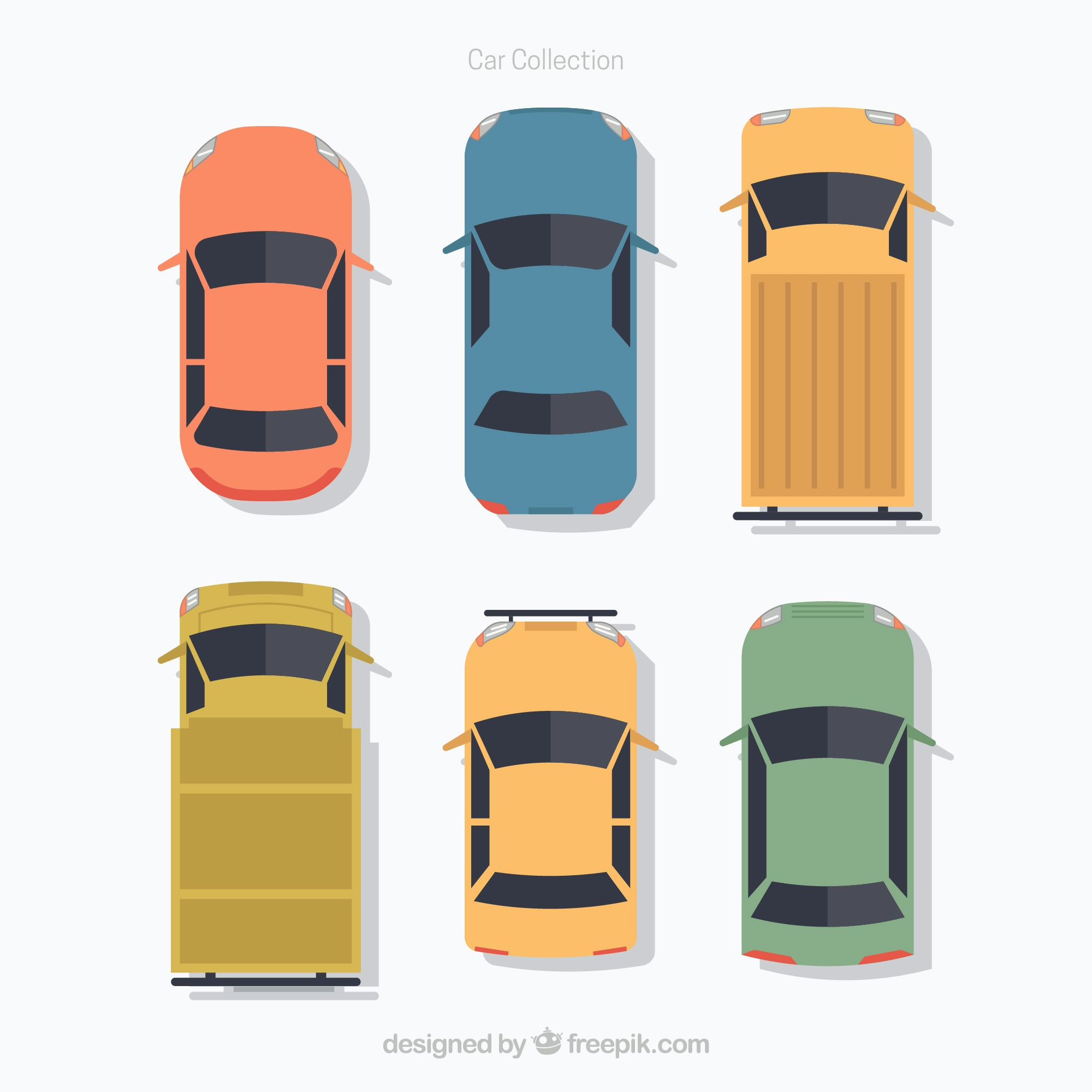Top view of flat cars and vans