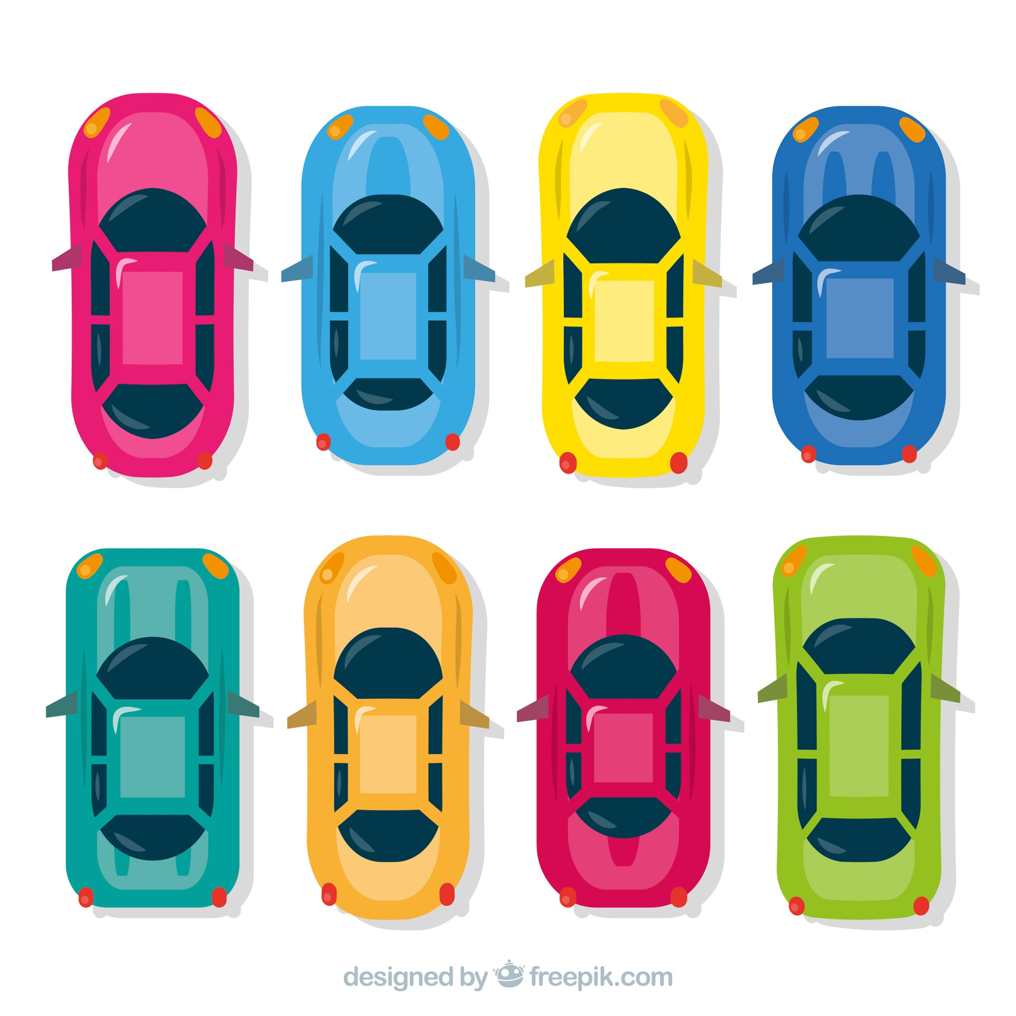 Top view of flat sports cars