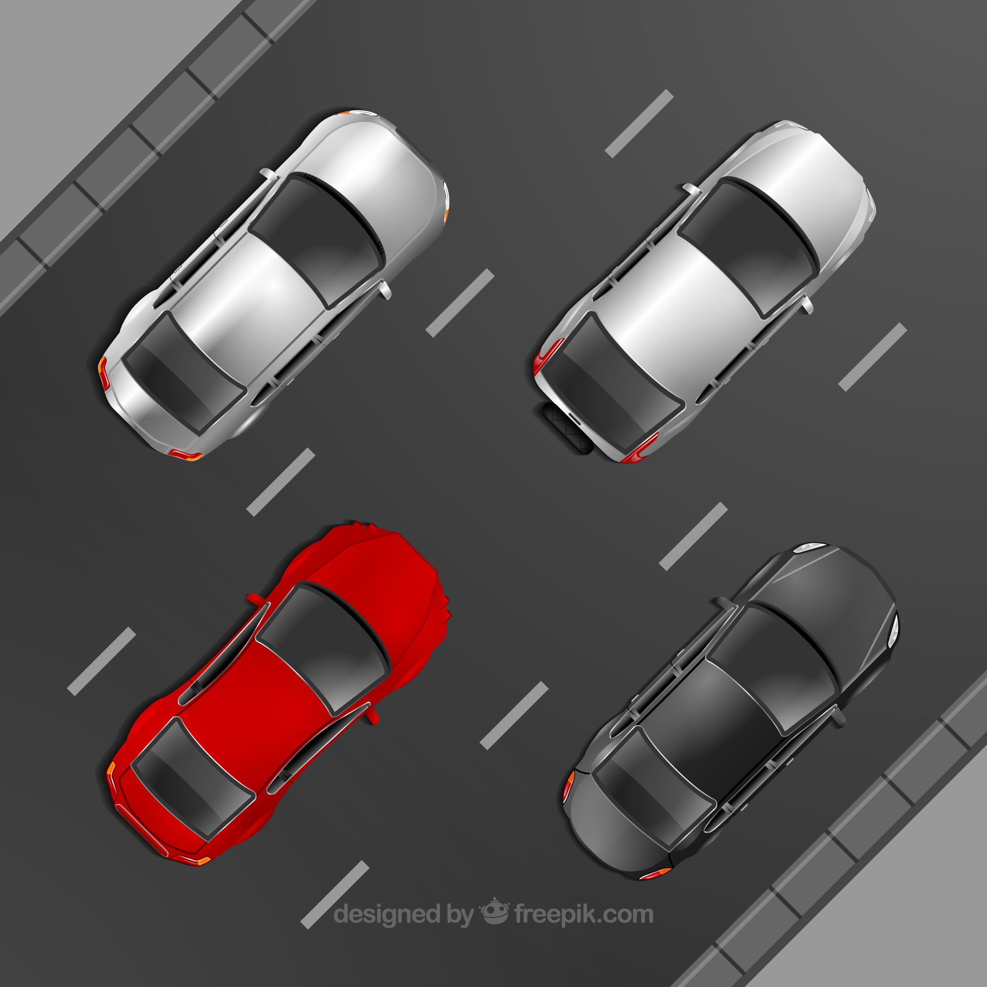 Top view of four cars driving on road