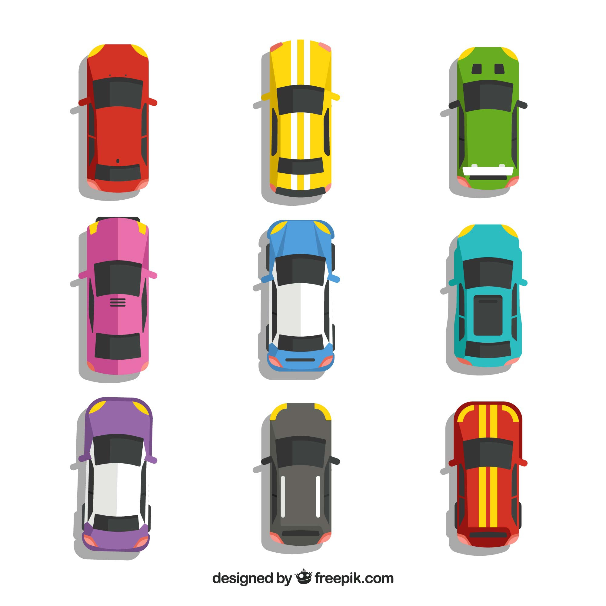 Top view of nine cars