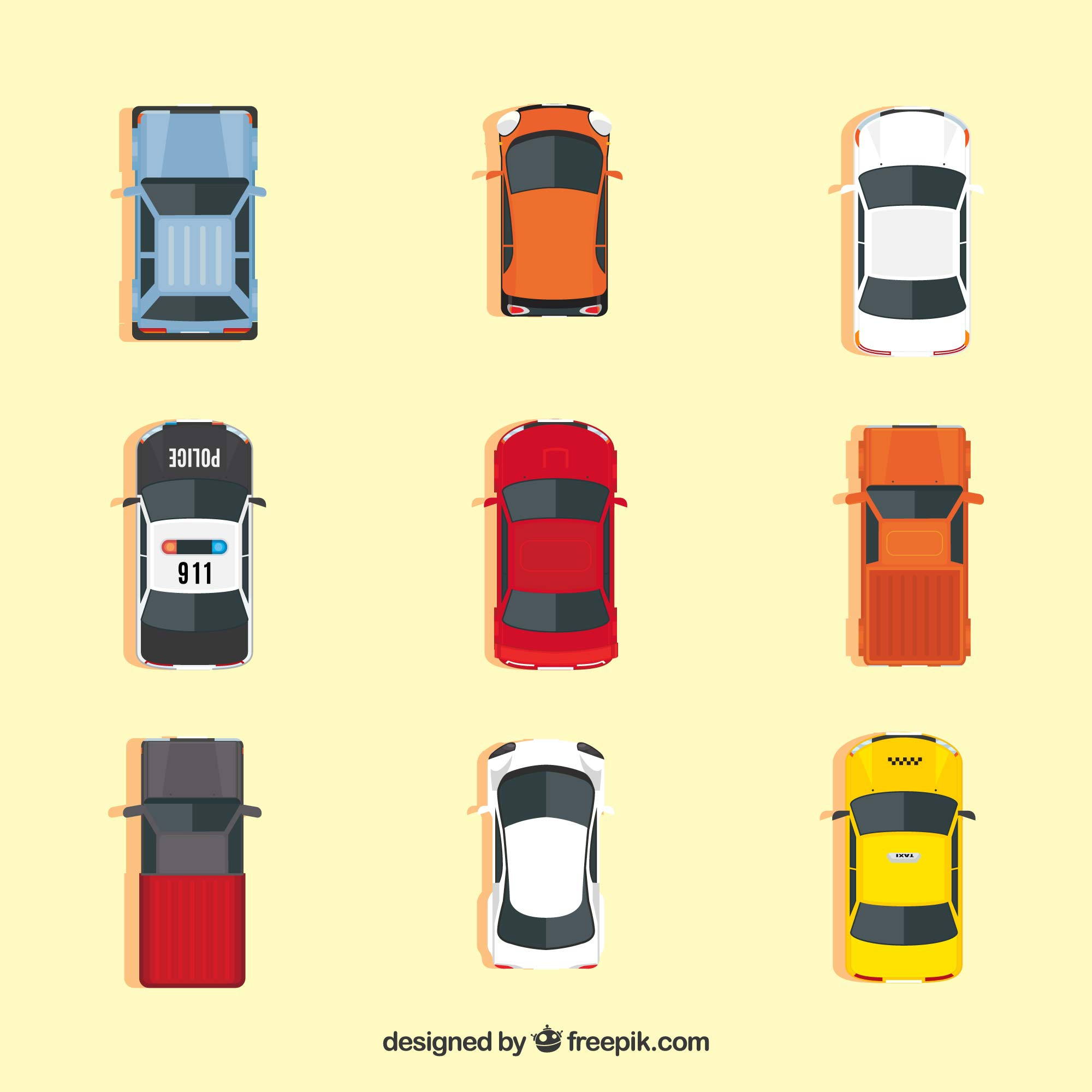 Top view of nine different cars