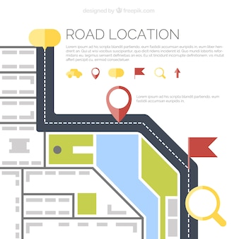 Top view of road map in flat design