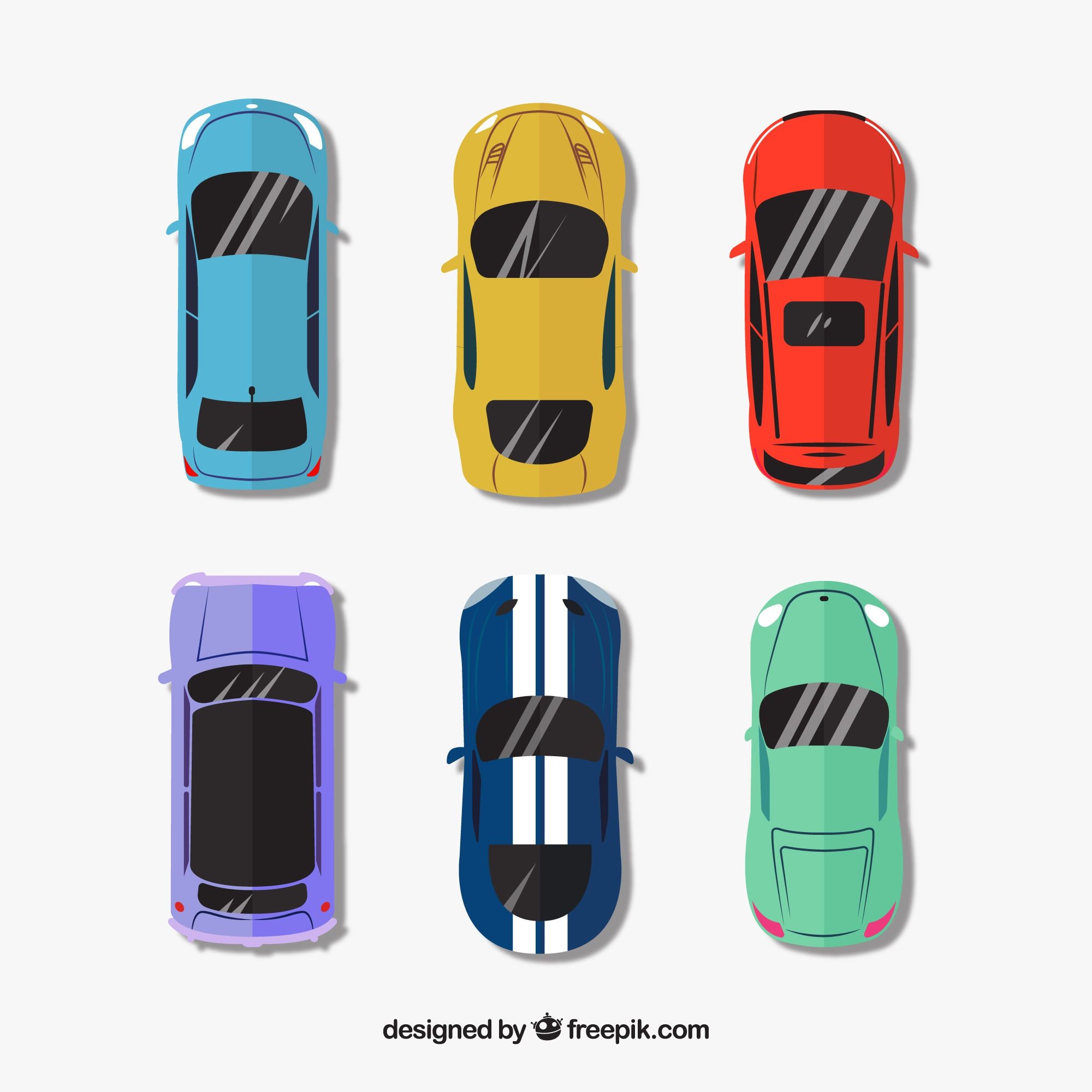 Top view of six different cars with reflecting windshields