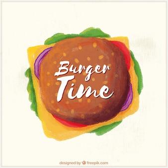 水彩ハンバーガーのトップビュー