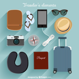 Top view travelers elements pack