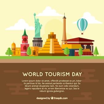 Touristic composition with famous buildings