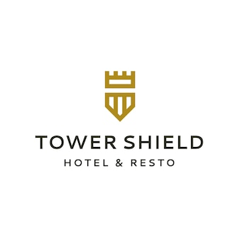 Tower and shield logo