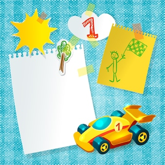 Toy racing car paper postcard template