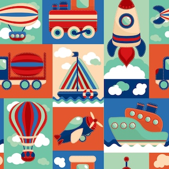 Toy transport cartoon seamless pattern with airplane aerostat sail yacht vector illustration