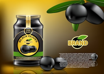 Traditional black olives canned in glass container with nice label and cover. Realistic editable mock up.