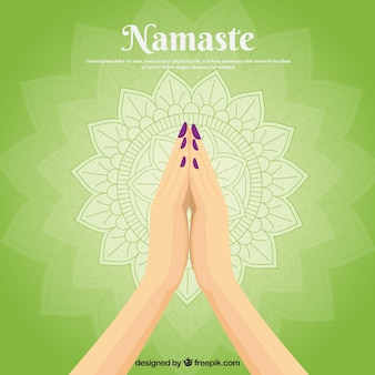Traditional composition with namaste gesture