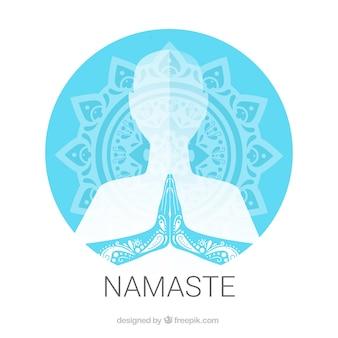 伝統的な曼荼羅とナマステのジェスチャー