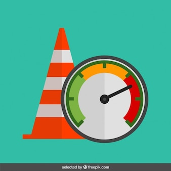 Traffic cone and speedometer in flat design