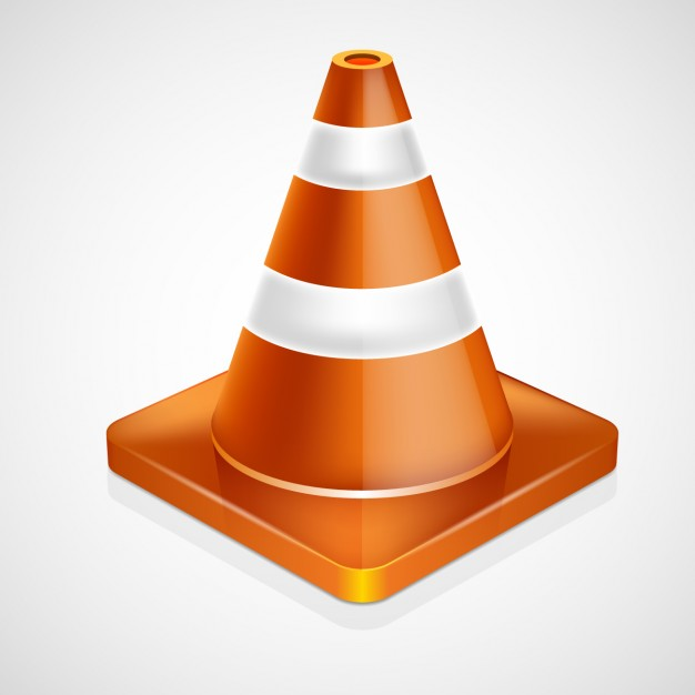 Traffic cone in realistic style