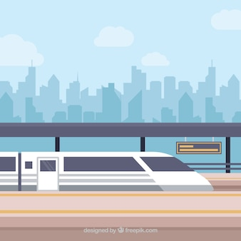 Train and city skyline background