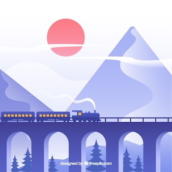 Train background crossing a beautiful landscape
