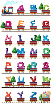 Train carries english alphabets