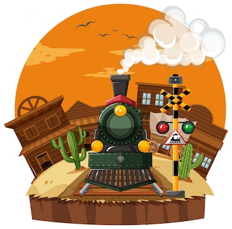 Train ride in the western town