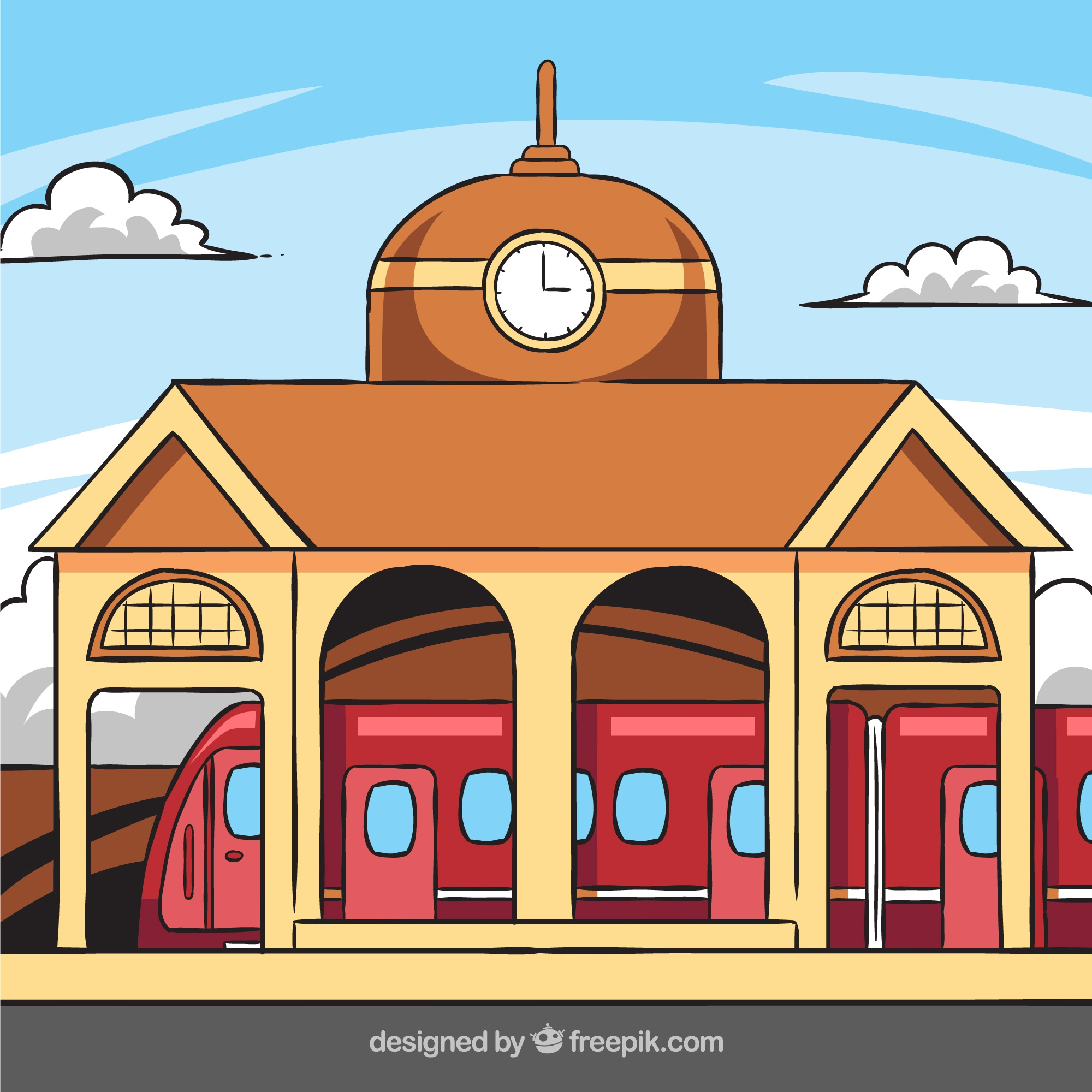 Train station building with clock