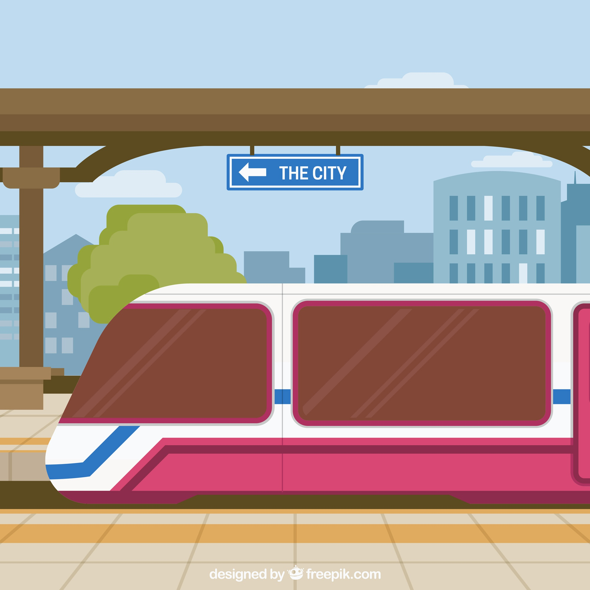 Train station with buildings background