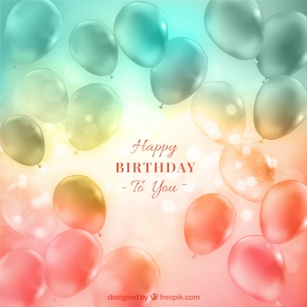 Transparent balloons birthday background with bokeh effect