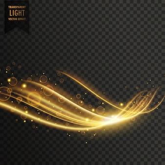 Transparent golden light effect with glitter vector