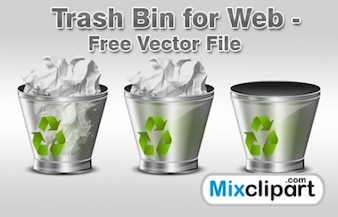transparent trash recycle icons