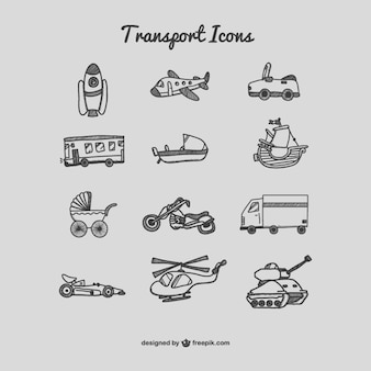 Transport icons drawing set