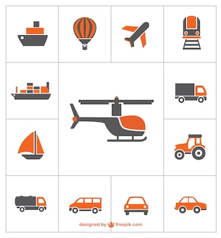 Transportation icons vector free