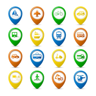 Transportation vehicles navigation pins set of car truck bus pedestrian isolated vector illustration