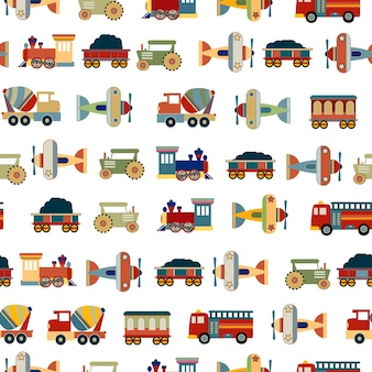 Transportations Toys for Boys seamless pattern vector design