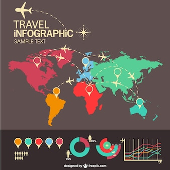 Travel airplane infographic with world map