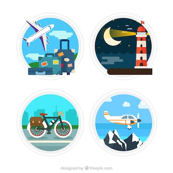 Travel around the word labels in flat design