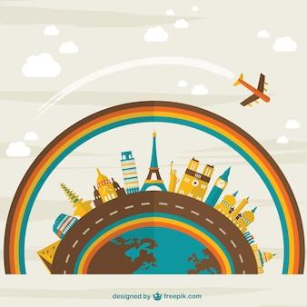 旅行背景フラットデザイン