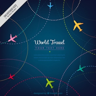 Travel background with colored airplanes