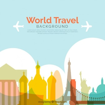 Travel background with colored monuments