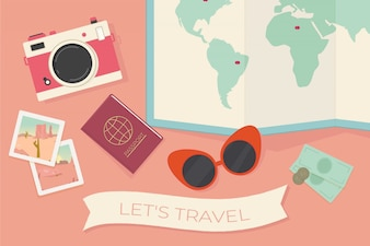 Travel background with decorative objects in flat design