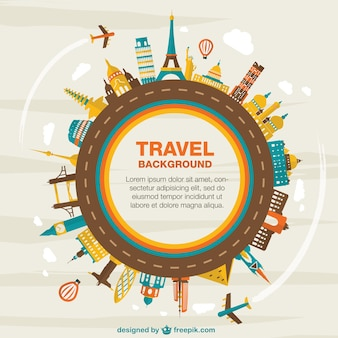 Travel background with different monuments