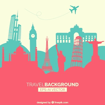 Travel background with monuments