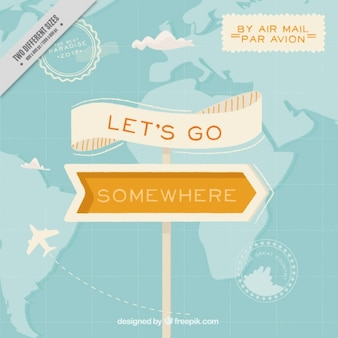 Travel background with sign and orange details