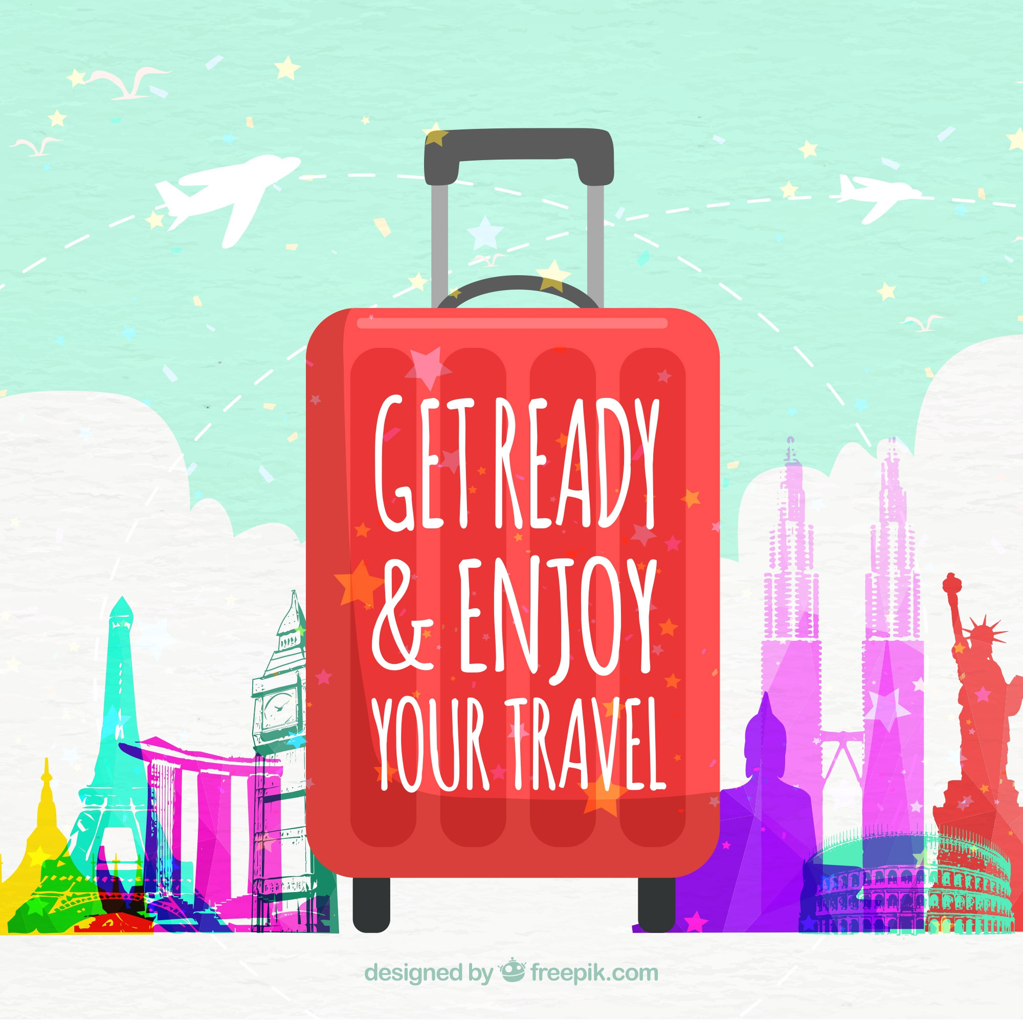 Travel background with suitcase and monuments