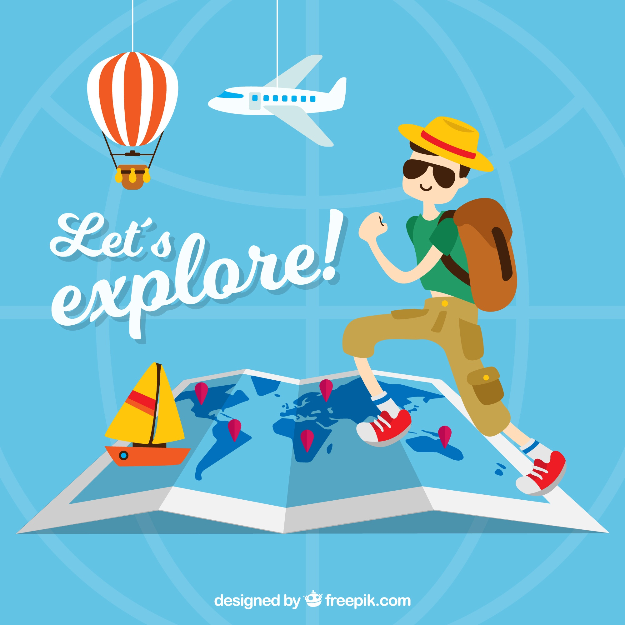 Travel background with tourist and decorative items