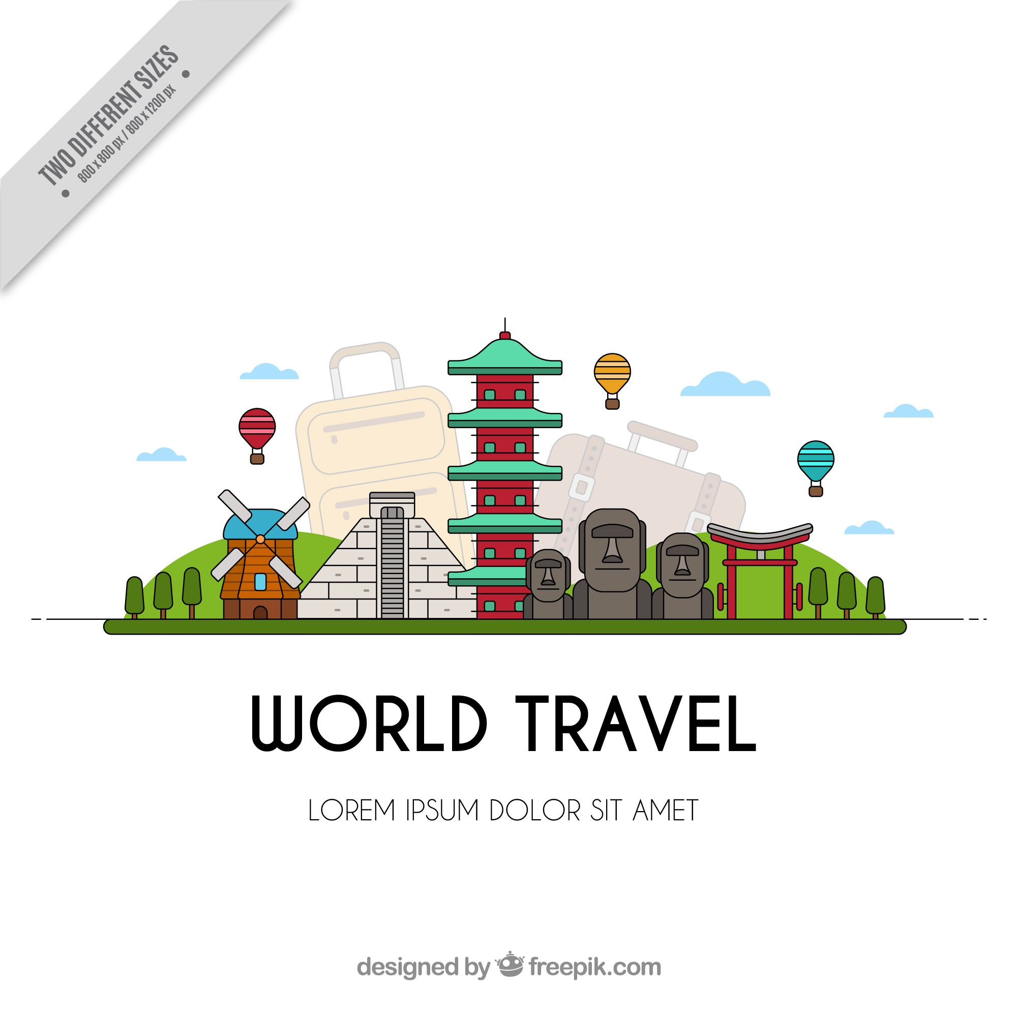 Travel background with world monuments