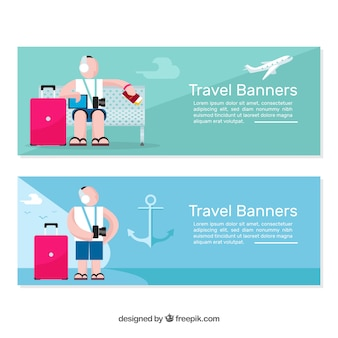 Travel banner with character