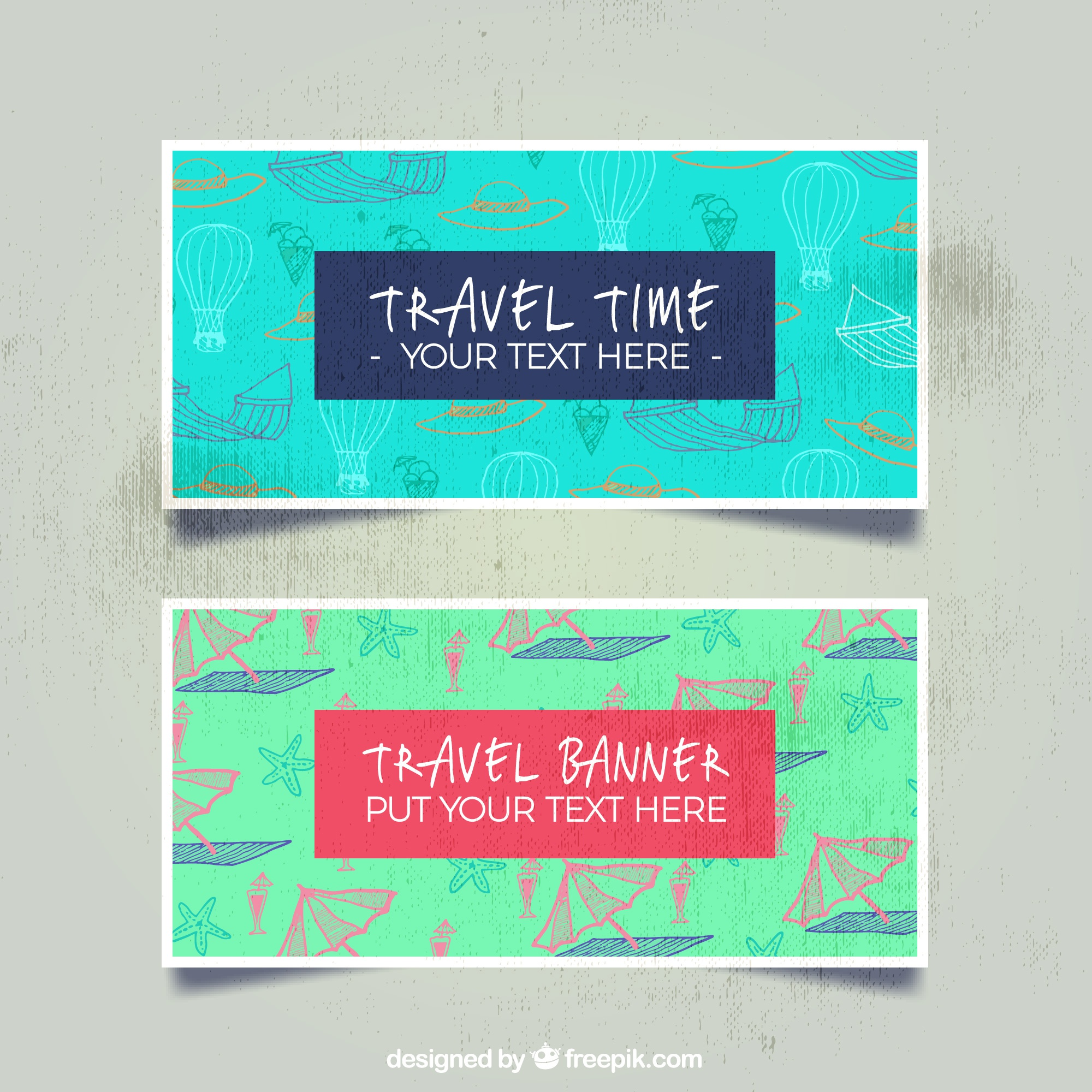 Travel banner with pattern background